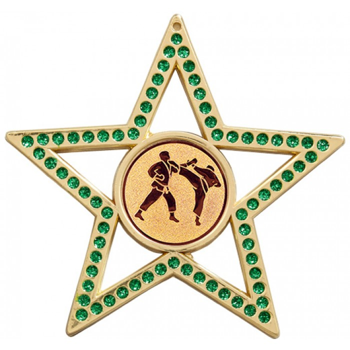 75MM GREEN STAR MARTIAL ARTS MEDAL - GOLD, SILVER & BRONZE